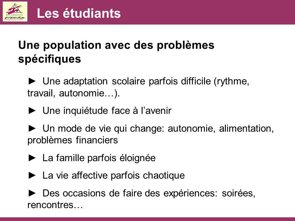 Les étudiants Une population avec des problèmes spécifiques ► Une adaptation scolaire parfois difficile (rythme, travail, autonomie…). ► Une inquiétud