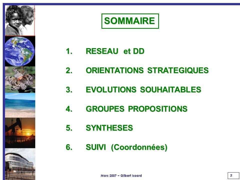 Mars 2007 – Gilbert Isoard 2 1. RESEAU et DD 2. ORIENTATIONS STRATEGIQUES 3.