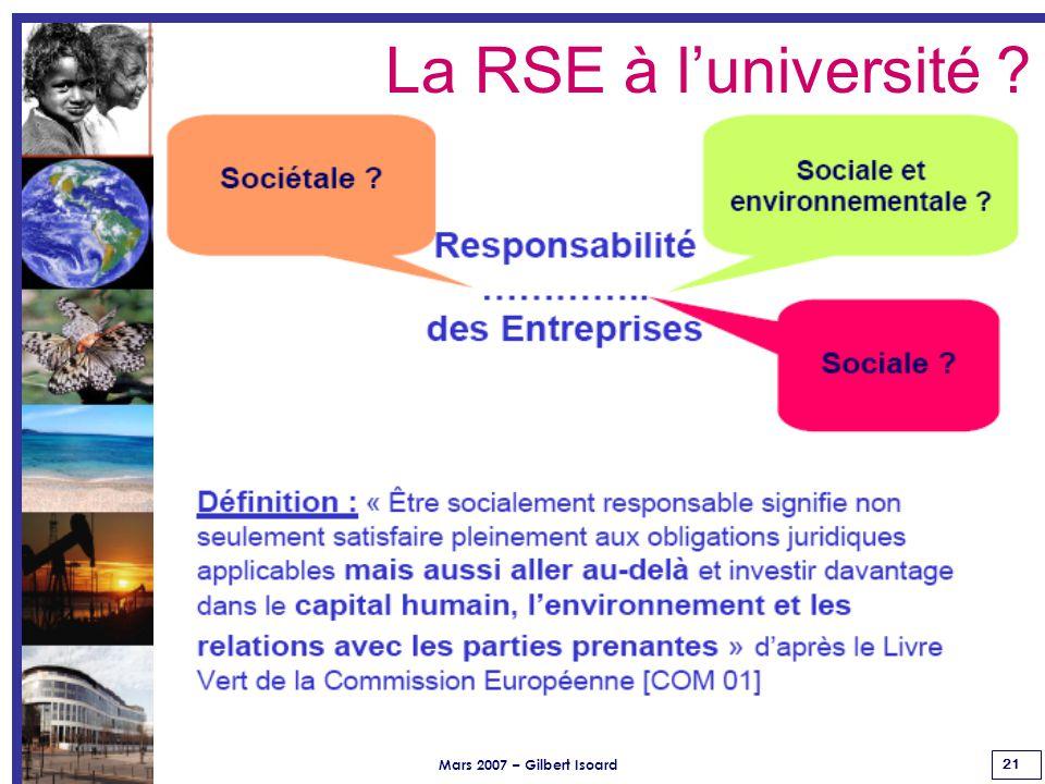 Mars 2007 – Gilbert Isoard 21 La RSE à l'université