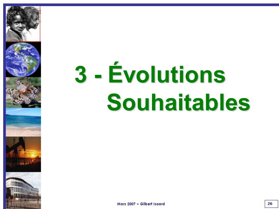 Mars 2007 – Gilbert Isoard 26 3 - Évolutions Souhaitables Souhaitables