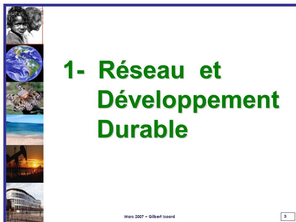 Mars 2007 – Gilbert Isoard 3 1- Réseau et Développement Développement Durable Durable