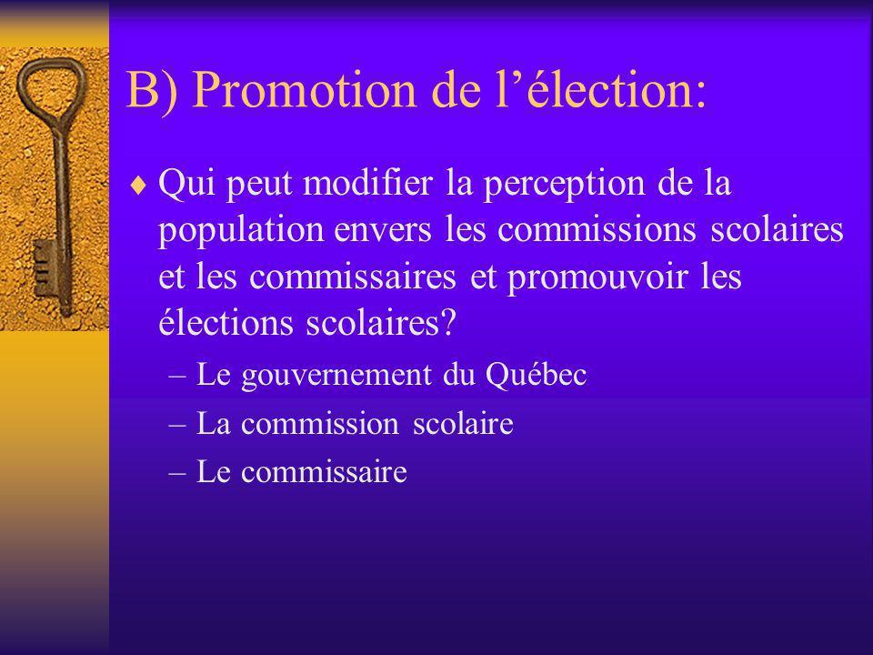 B) Promotion de l'élection:  Qui peut modifier la perception de la population envers les commissions scolaires et les commissaires et promouvoir les