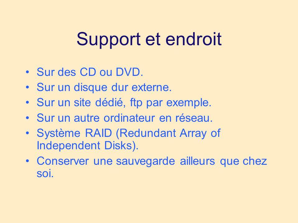 Support et endroit •Sur des CD ou DVD. •Sur un disque dur externe.