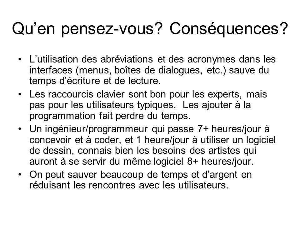 Qu'en pensez-vous? Conséquences? •L'utilisation des abréviations et des acronymes dans les interfaces (menus, boîtes de dialogues, etc.) sauve du temp