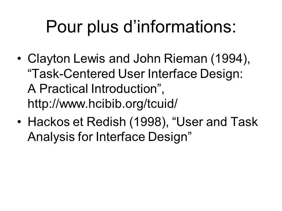 """Pour plus d'informations: •Clayton Lewis and John Rieman (1994), """"Task-Centered User Interface Design: A Practical Introduction"""", http://www.hcibib.or"""