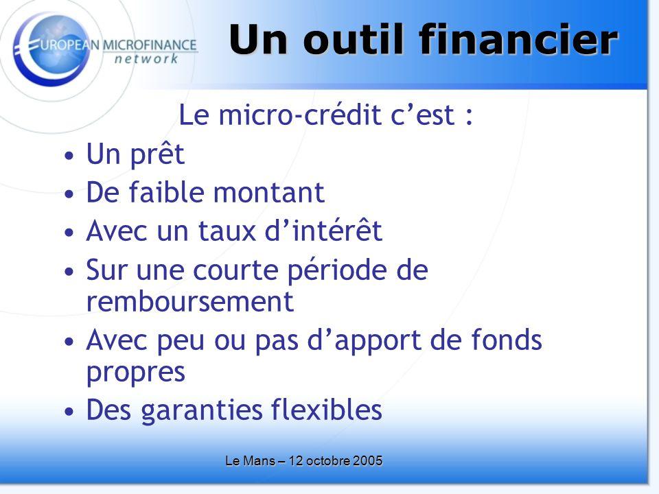 Le Mans – 12 octobre 2005 Un outil financier Le micro-crédit c'est : •Un prêt •De faible montant •Avec un taux d'intérêt •Sur une courte période de remboursement •Avec peu ou pas d'apport de fonds propres •Des garanties flexibles