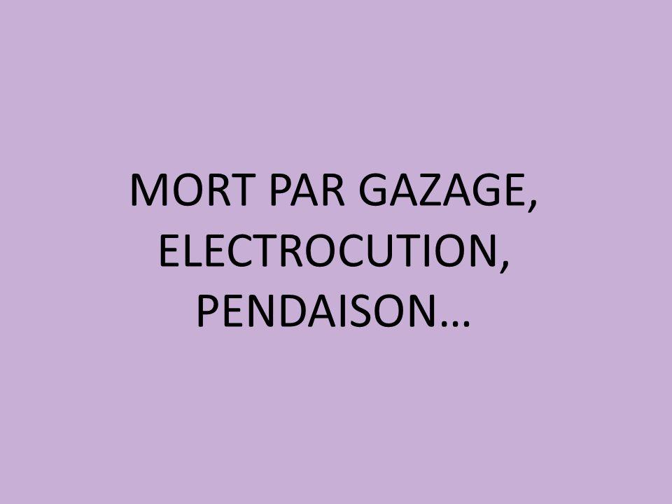 MORT PAR GAZAGE, ELECTROCUTION, PENDAISON…