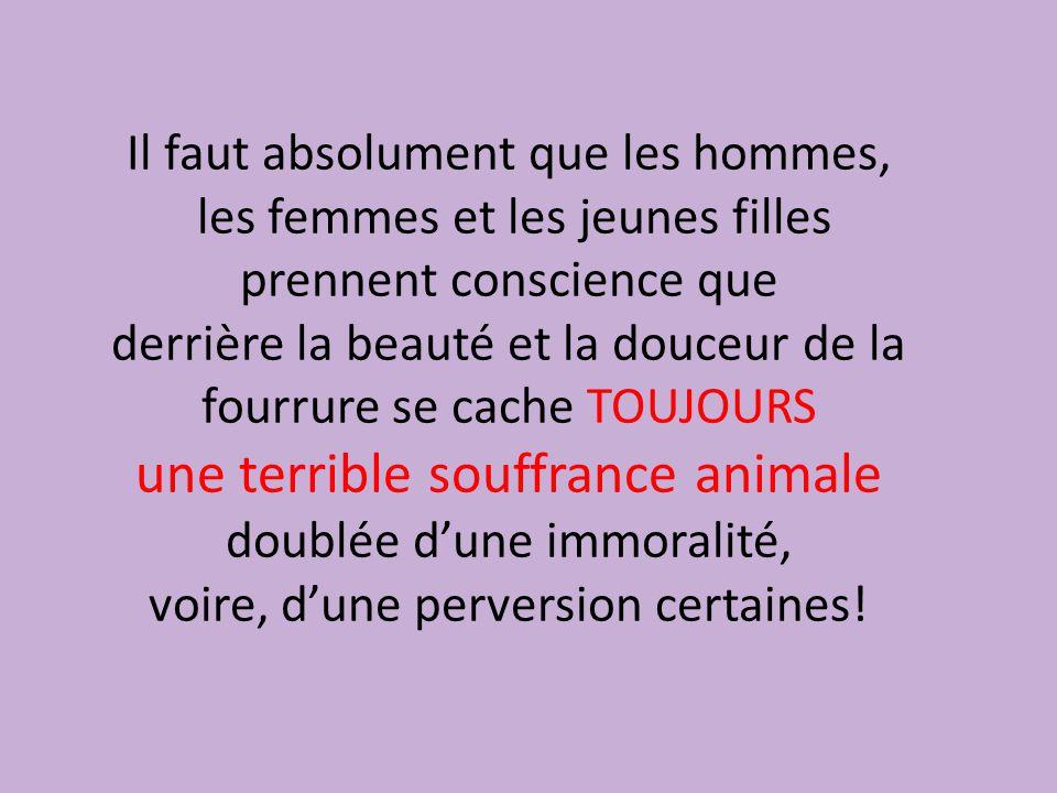 Il faut absolument que les hommes, les femmes et les jeunes filles prennent conscience que derrière la beauté et la douceur de la fourrure se cache TOUJOURS une terrible souffrance animale doublée d'une immoralité, voire, d'une perversion certaines!