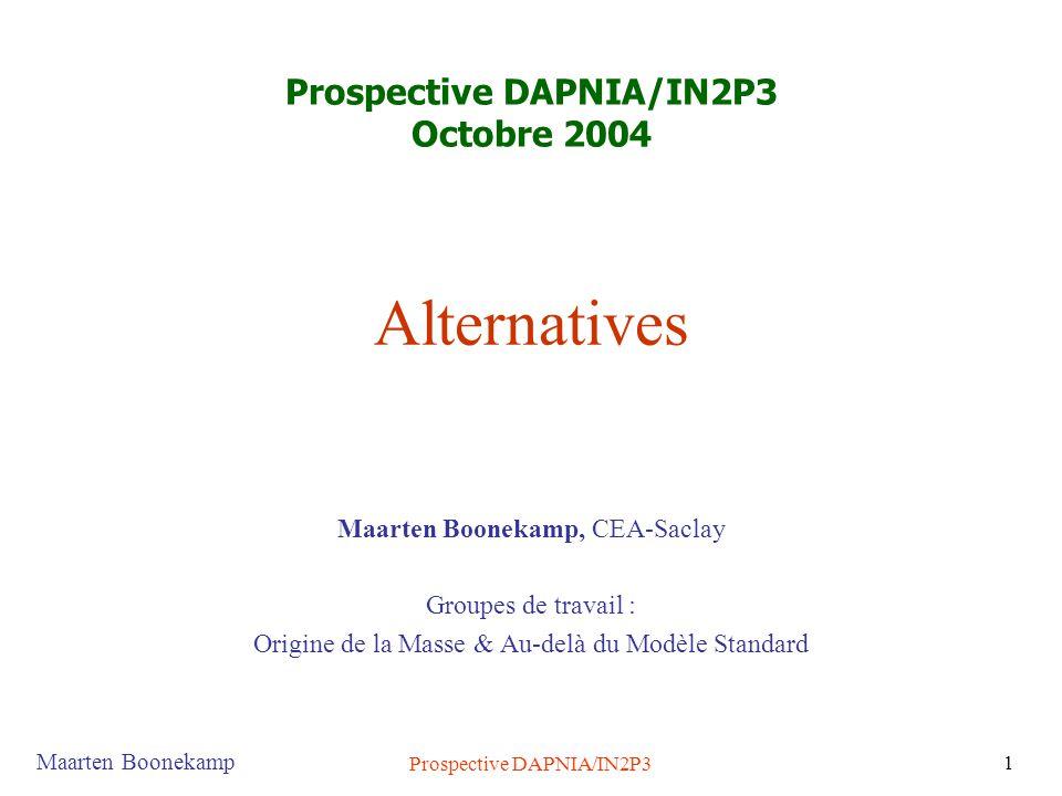 Maarten Boonekamp Prospective DAPNIA/IN2P3 1 Alternatives Maarten Boonekamp, CEA-Saclay Groupes de travail : Origine de la Masse & Au-delà du Modèle Standard Prospective DAPNIA/IN2P3 Octobre 2004
