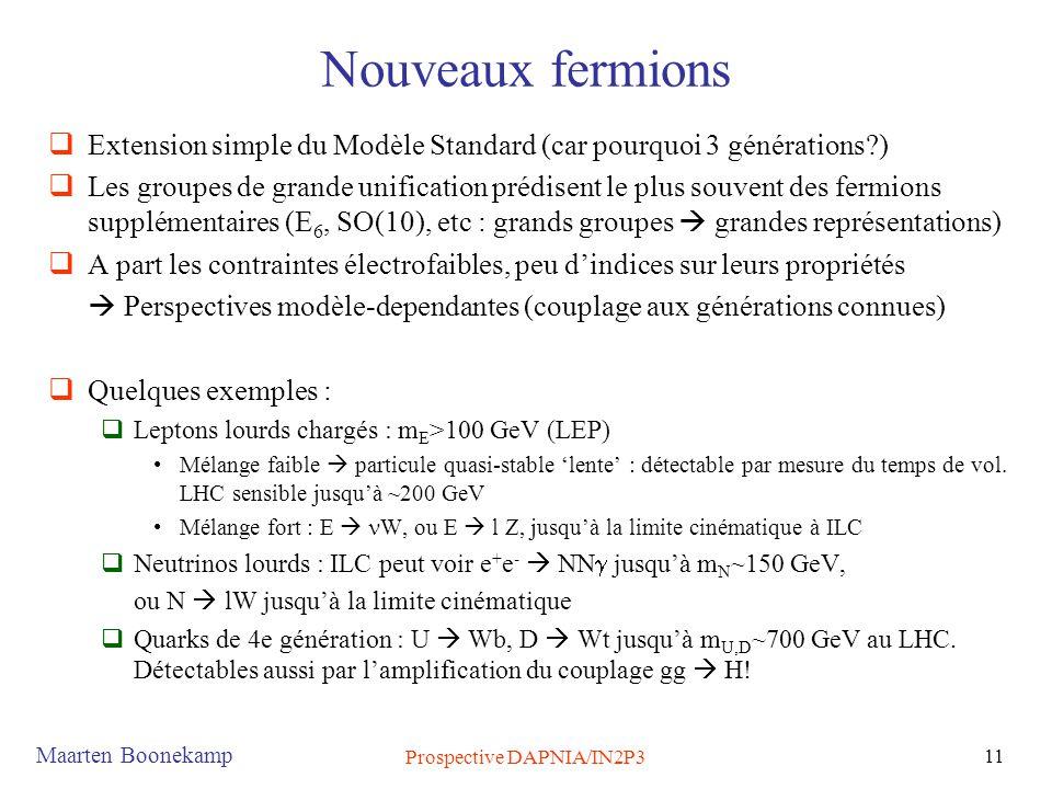 Maarten Boonekamp Prospective DAPNIA/IN2P3 11 Nouveaux fermions  Extension simple du Modèle Standard (car pourquoi 3 générations?)  Les groupes de grande unification prédisent le plus souvent des fermions supplémentaires (E 6, SO(10), etc : grands groupes  grandes représentations)  A part les contraintes électrofaibles, peu d'indices sur leurs propriétés  Perspectives modèle-dependantes (couplage aux générations connues)  Quelques exemples :  Leptons lourds chargés : m E >100 GeV (LEP) •Mélange faible  particule quasi-stable 'lente' : détectable par mesure du temps de vol.