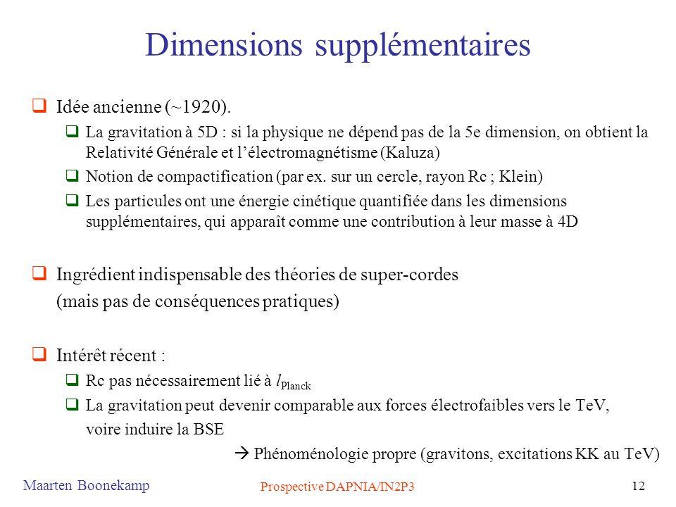 Maarten Boonekamp Prospective DAPNIA/IN2P3 12 Dimensions supplémentaires  Idée ancienne (~1920).  La gravitation à 5D : si la physique ne dépend pas