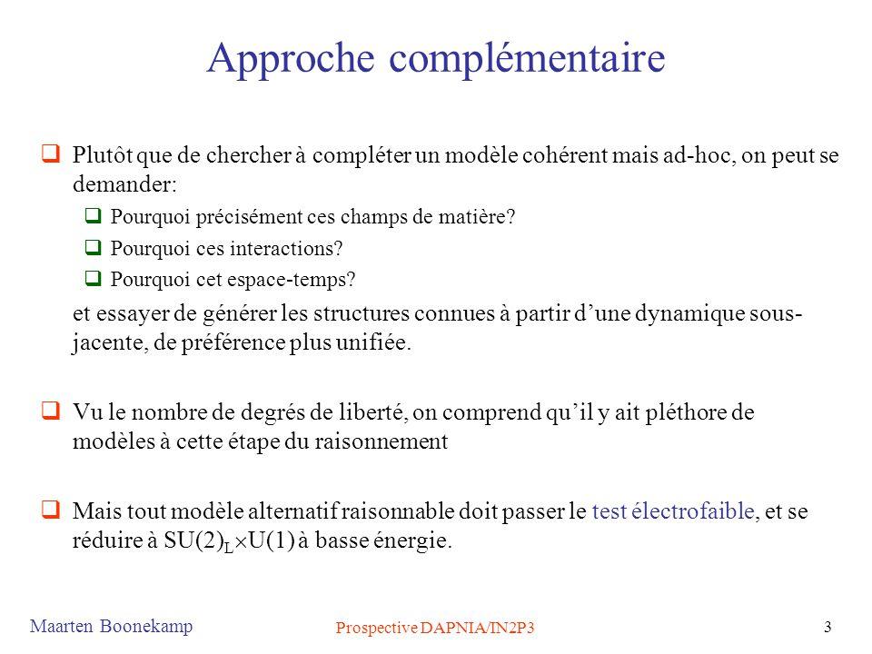 Maarten Boonekamp Prospective DAPNIA/IN2P3 3 Approche complémentaire  Plutôt que de chercher à compléter un modèle cohérent mais ad-hoc, on peut se d