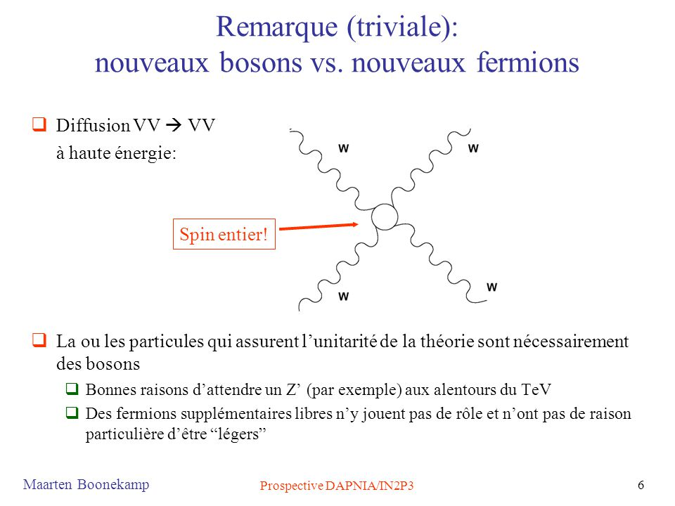 Maarten Boonekamp Prospective DAPNIA/IN2P3 6 Remarque (triviale): nouveaux bosons vs. nouveaux fermions  Diffusion VV  VV à haute énergie:  La ou l