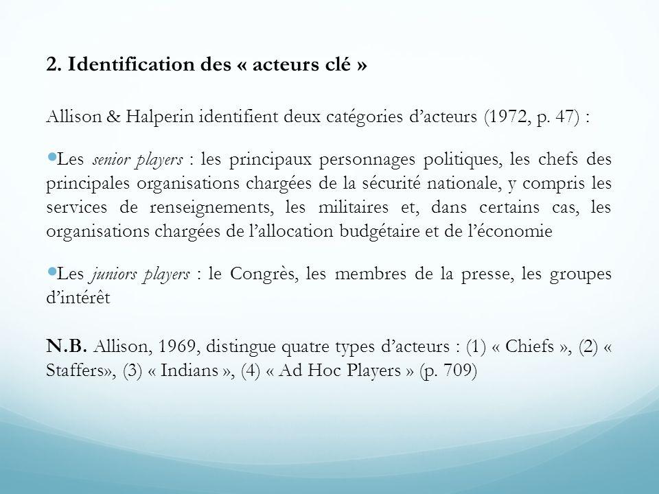 2. Identification des « acteurs clé » Allison & Halperin identifient deux catégories d'acteurs (1972, p. 47) :  Les senior players : les principaux p