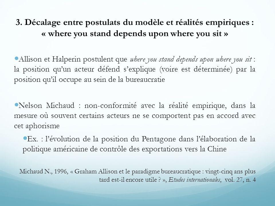 3. Décalage entre postulats du modèle et réalités empiriques : « where you stand depends upon where you sit »  Allison et Halperin postulent que wher