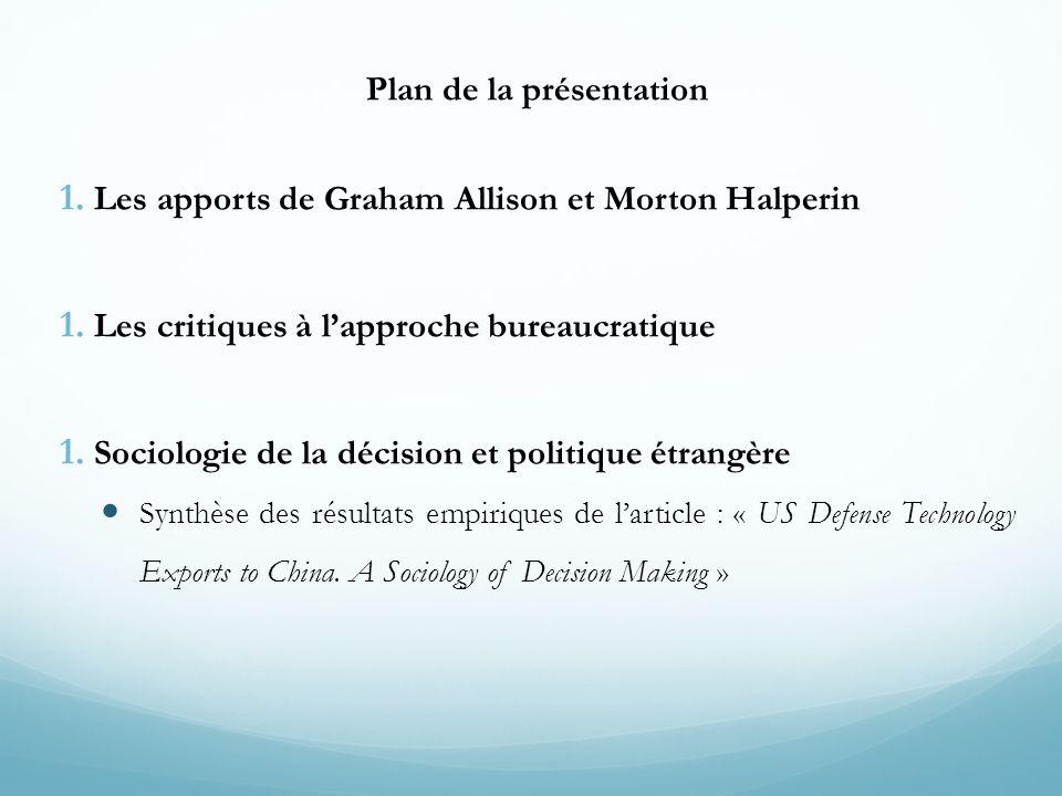 Plan de la présentation 1. Les apports de Graham Allison et Morton Halperin 1. Les critiques à l'approche bureaucratique 1. Sociologie de la décision