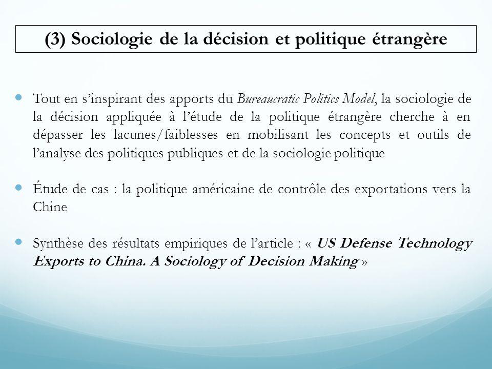  Tout en s'inspirant des apports du Bureaucratic Politics Model, la sociologie de la décision appliquée à l'étude de la politique étrangère cherche à