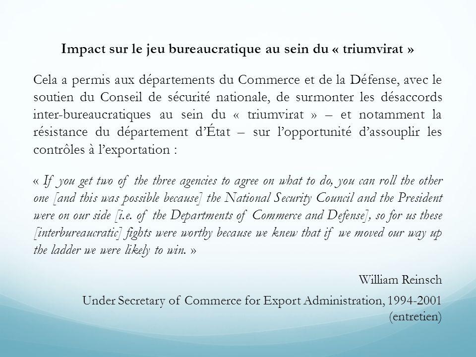 Impact sur le jeu bureaucratique au sein du « triumvirat » Cela a permis aux départements du Commerce et de la Défense, avec le soutien du Conseil de