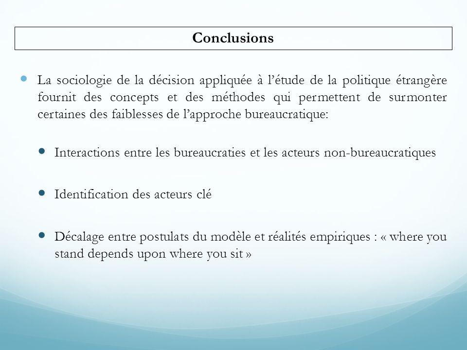  La sociologie de la décision appliquée à l'étude de la politique étrangère fournit des concepts et des méthodes qui permettent de surmonter certaine