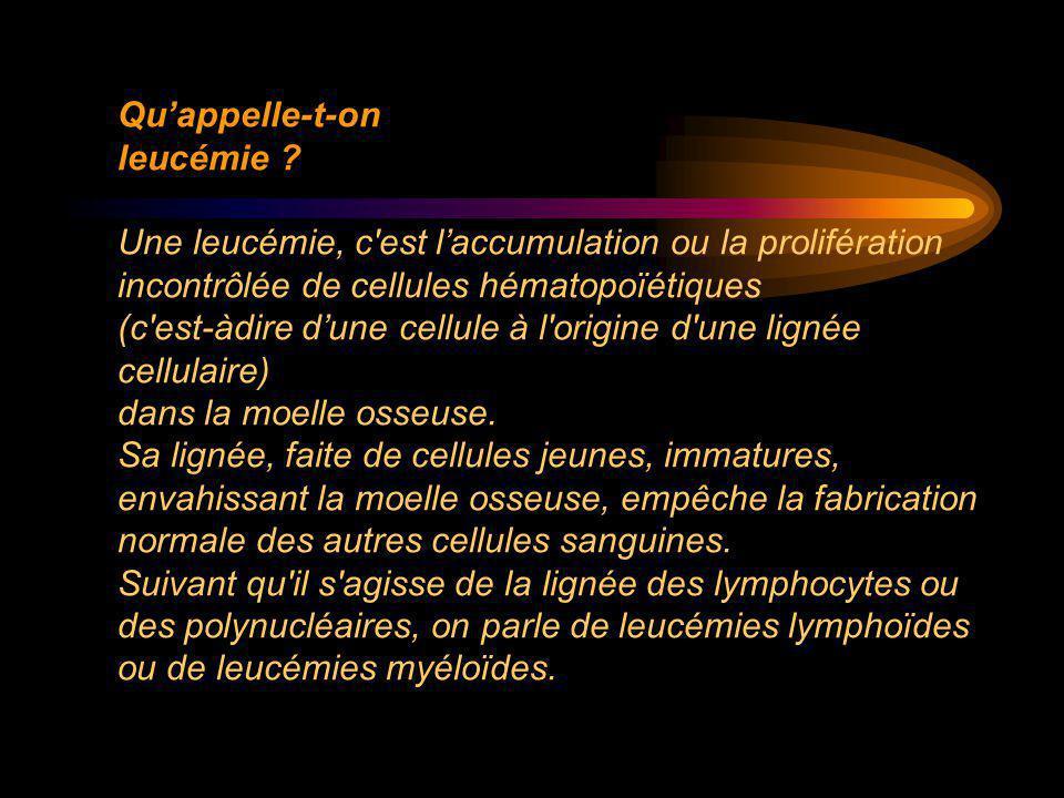 Qu'appelle-t-on leucémie ? Une leucémie, c'est l'accumulation ou la prolifération incontrôlée de cellules hématopoïétiques (c'est-àdire d'une cellule