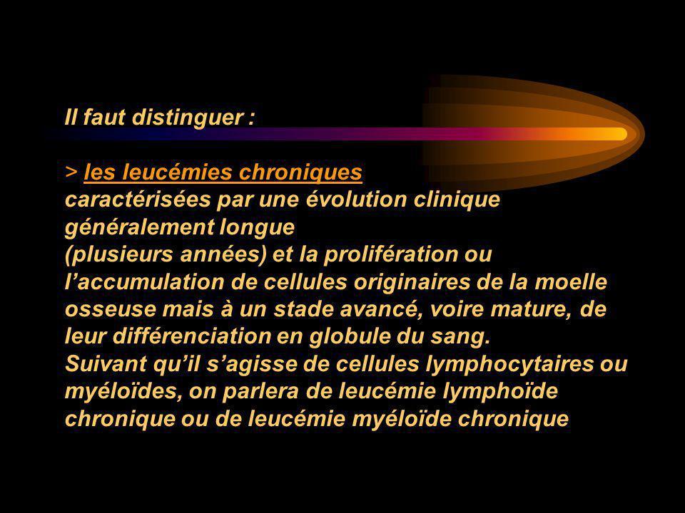Il faut distinguer : > les leucémies chroniques caractérisées par une évolution clinique généralement longue (plusieurs années) et la prolifération ou