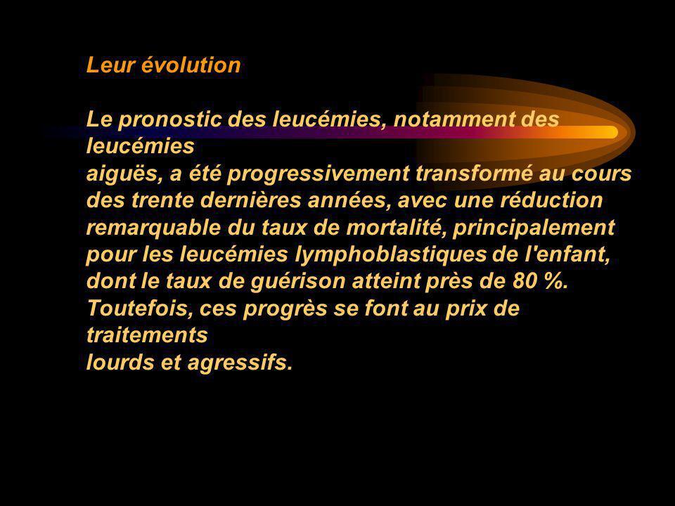 Leur évolution Le pronostic des leucémies, notamment des leucémies aiguës, a été progressivement transformé au cours des trente dernières années, avec
