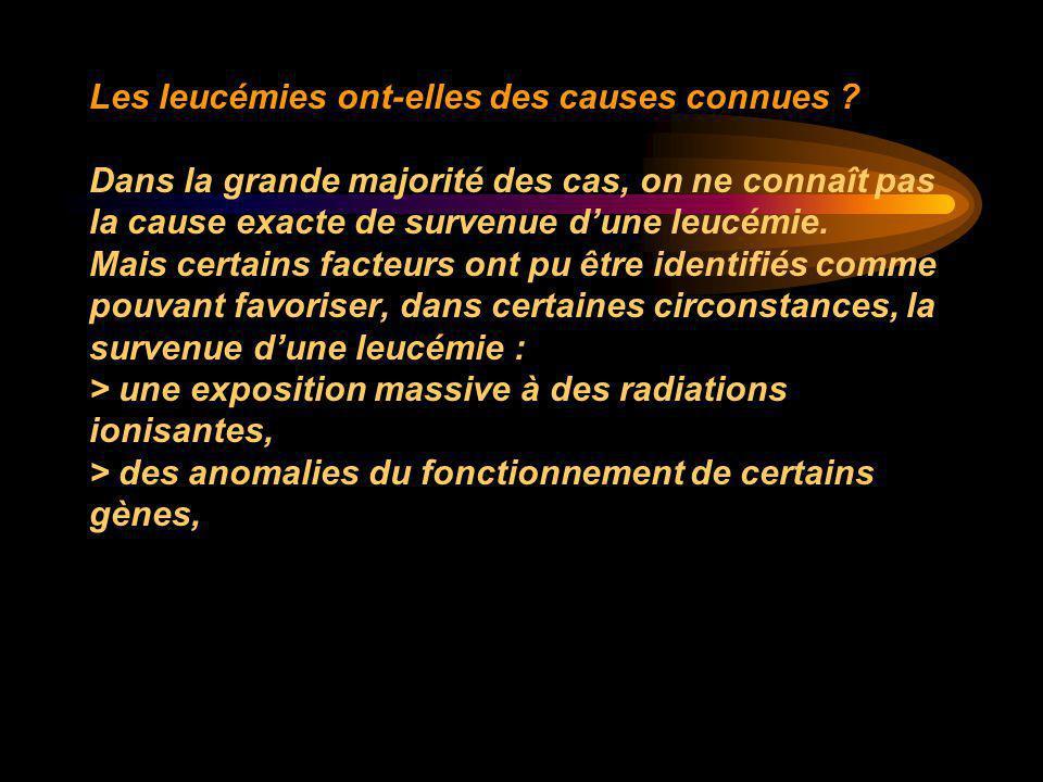 Les leucémies ont-elles des causes connues ? Dans la grande majorité des cas, on ne connaît pas la cause exacte de survenue d'une leucémie. Mais certa