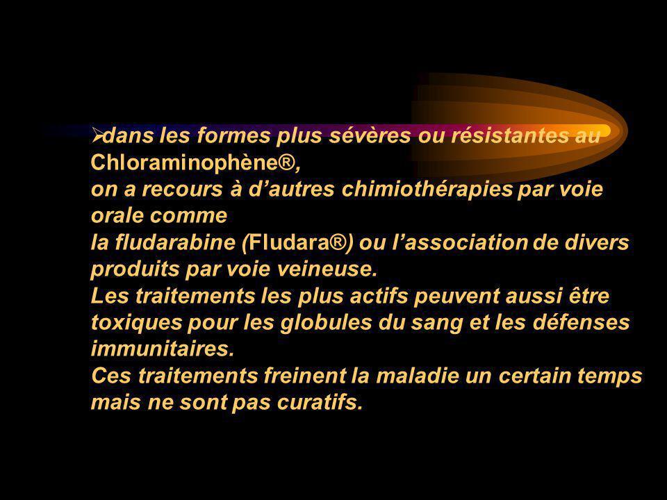  dans les formes plus sévères ou résistantes au Chloraminophène®, on a recours à d'autres chimiothérapies par voie orale comme la fludarabine (Fludar