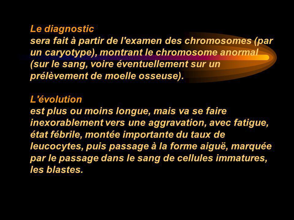 Le diagnostic sera fait à partir de l'examen des chromosomes (par un caryotype), montrant le chromosome anormal (sur le sang, voire éventuellement sur