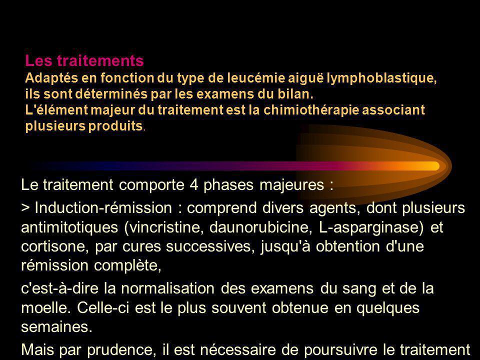 Le traitement comporte 4 phases majeures : > Induction-rémission : comprend divers agents, dont plusieurs antimitotiques (vincristine, daunorubicine,