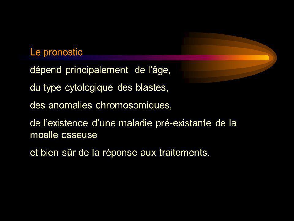 Le pronostic dépend principalement de l'âge, du type cytologique des blastes, des anomalies chromosomiques, de l'existence d'une maladie pré-existante