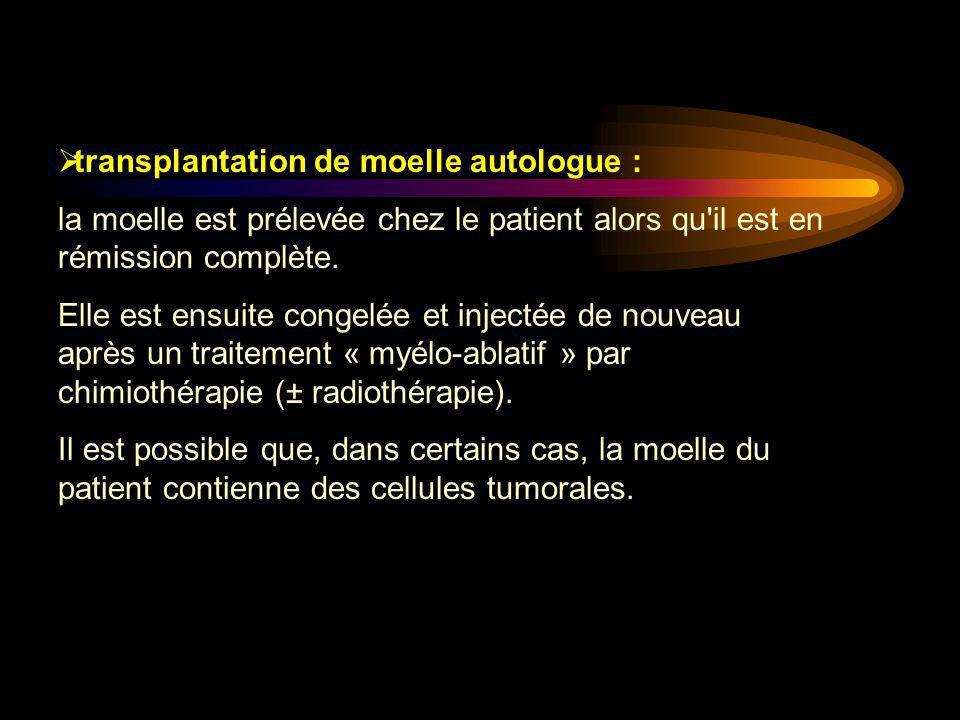  transplantation de moelle autologue : la moelle est prélevée chez le patient alors qu'il est en rémission complète. Elle est ensuite congelée et inj