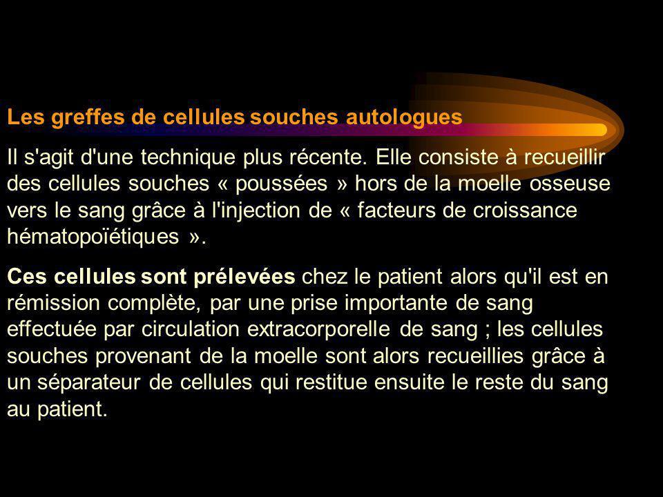 Les greffes de cellules souches autologues Il s'agit d'une technique plus récente. Elle consiste à recueillir des cellules souches « poussées » hors d