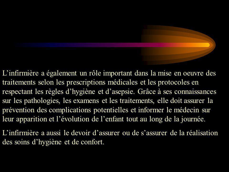L'infirmière a également un rôle important dans la mise en oeuvre des traitements selon les prescriptions médicales et les protocoles en respectant le