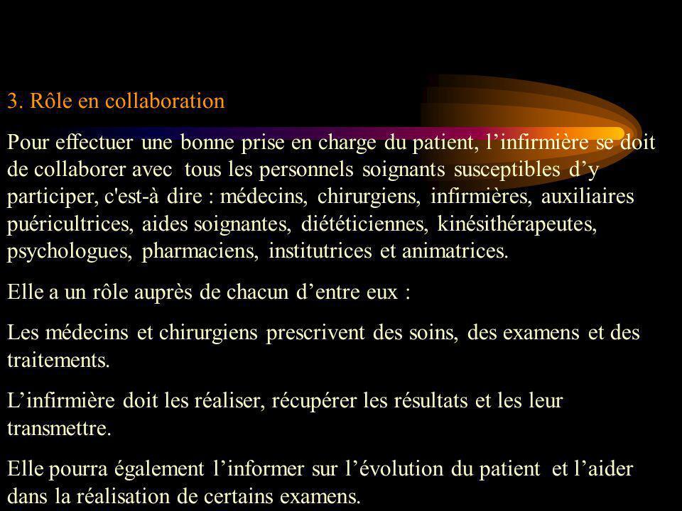 3. Rôle en collaboration Pour effectuer une bonne prise en charge du patient, l'infirmière se doit de collaborer avec tous les personnels soignants su