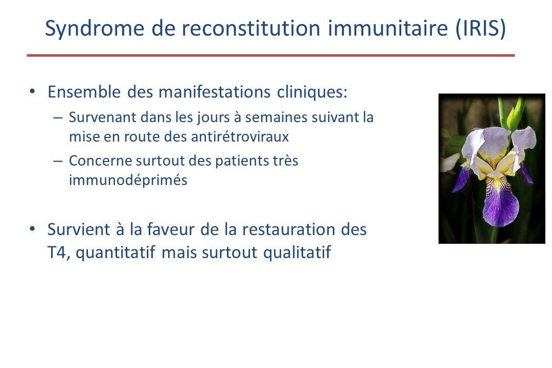 Syndrome de reconstitution immunitaire (IRIS) • Ensemble des manifestations cliniques: – Survenant dans les jours à semaines suivant la mise en route des antirétroviraux – Concerne surtout des patients très immunodéprimés • Survient à la faveur de la restauration des T4, quantitatif mais surtout qualitatif