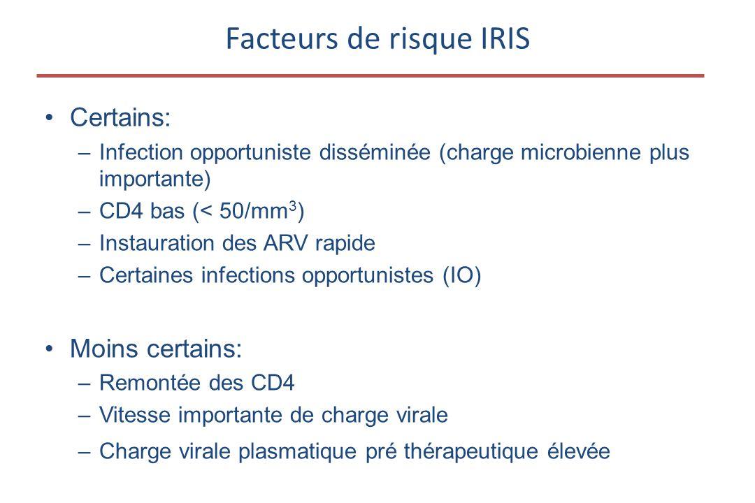 •Certains: –Infection opportuniste disséminée (charge microbienne plus importante) –CD4 bas (< 50/mm 3 ) –Instauration des ARV rapide –Certaines infec