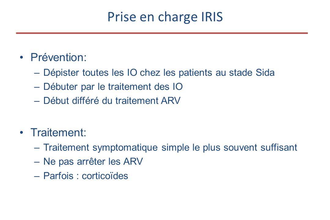 •Prévention: –Dépister toutes les IO chez les patients au stade Sida –Débuter par le traitement des IO –Début différé du traitement ARV •Traitement: –