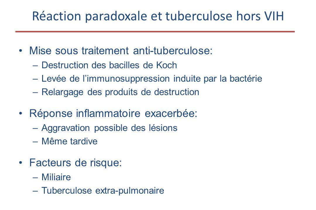 •Mise sous traitement anti-tuberculose: –Destruction des bacilles de Koch –Levée de l'immunosuppression induite par la bactérie –Relargage des produit