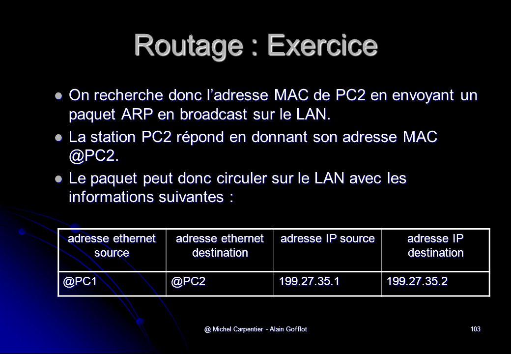 @ Michel Carpentier - Alain Gofflot103 Routage : Exercice  On recherche donc l'adresse MAC de PC2 en envoyant un paquet ARP en broadcast sur le LAN.