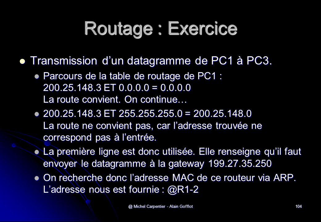 @ Michel Carpentier - Alain Gofflot104 Routage : Exercice  Transmission d'un datagramme de PC1 à PC3.  Parcours de la table de routage de PC1 : 200.