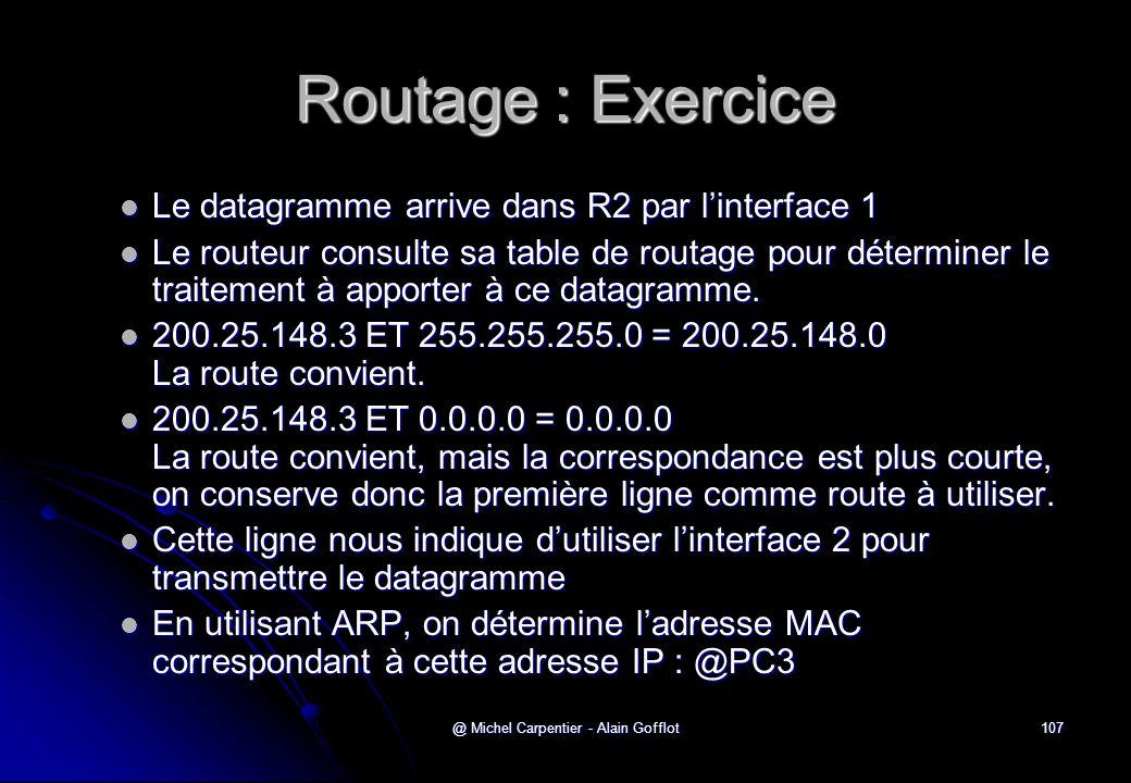 @ Michel Carpentier - Alain Gofflot107 Routage : Exercice  Le datagramme arrive dans R2 par l'interface 1  Le routeur consulte sa table de routage p