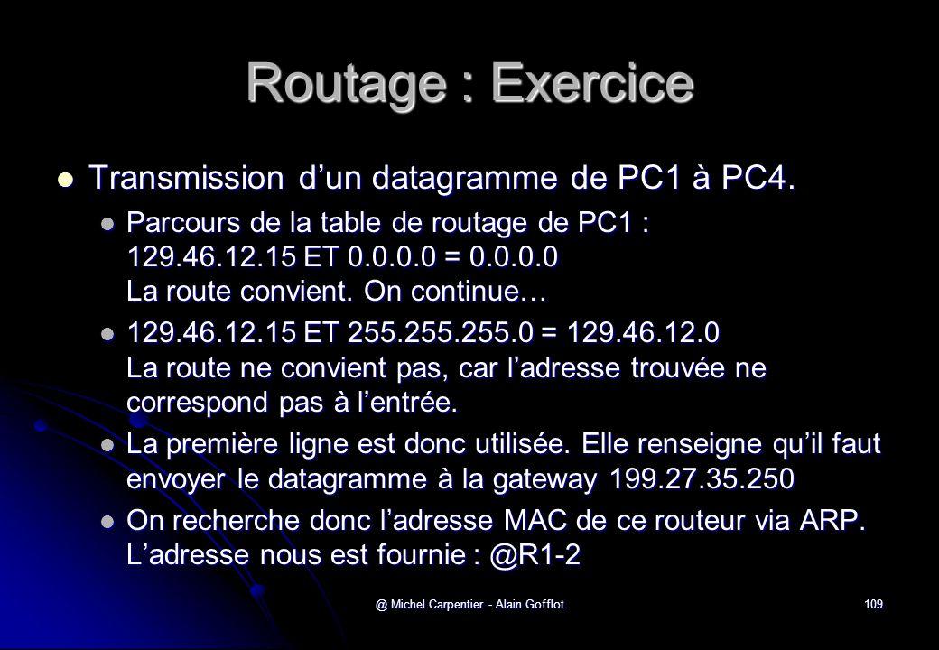 @ Michel Carpentier - Alain Gofflot109 Routage : Exercice  Transmission d'un datagramme de PC1 à PC4.  Parcours de la table de routage de PC1 : 129.