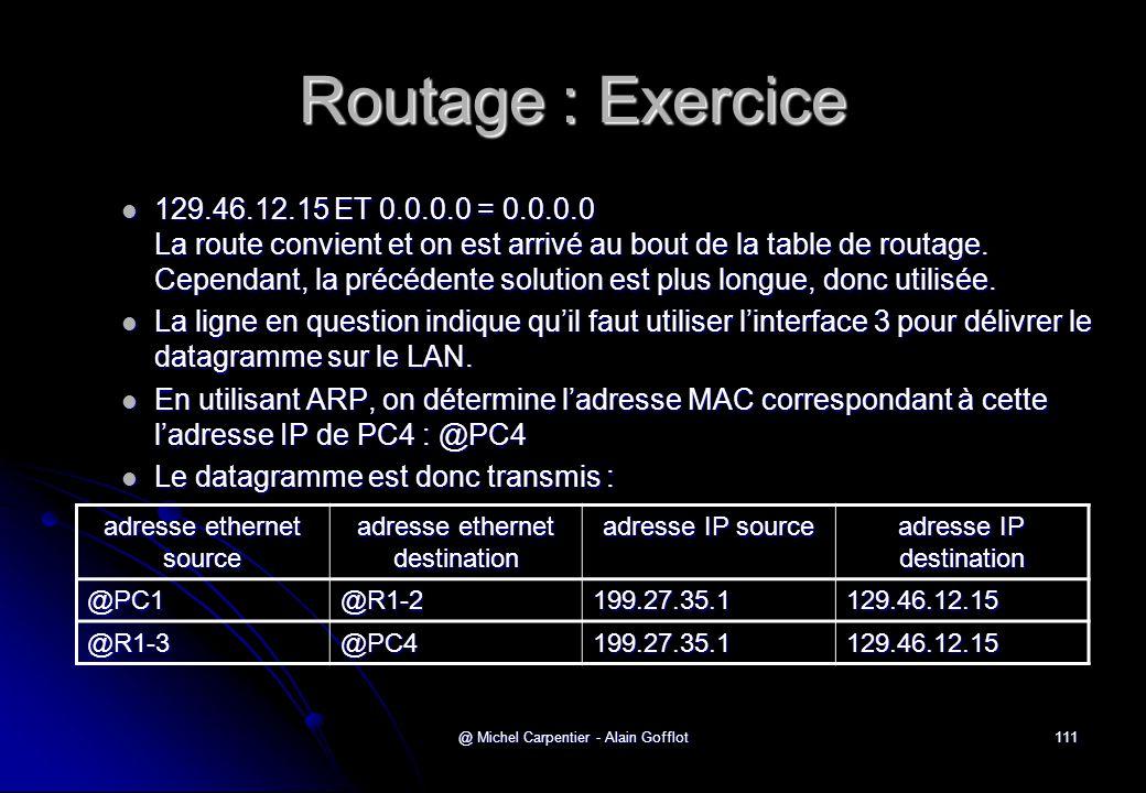 @ Michel Carpentier - Alain Gofflot111 Routage : Exercice  129.46.12.15 ET 0.0.0.0 = 0.0.0.0 La route convient et on est arrivé au bout de la table d