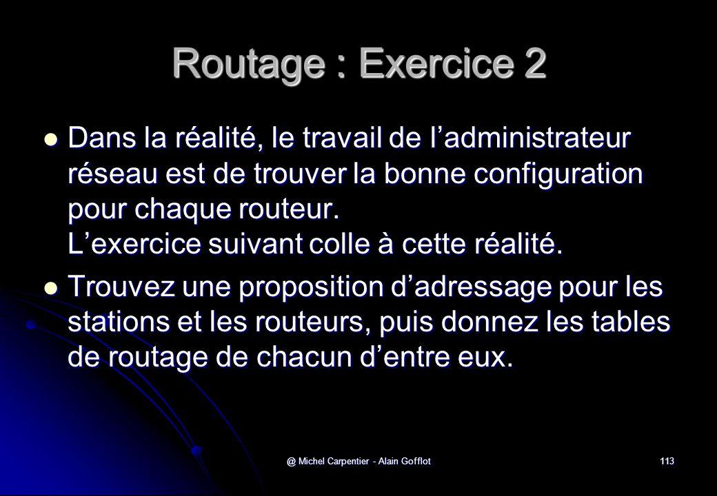 @ Michel Carpentier - Alain Gofflot113 Routage : Exercice 2  Dans la réalité, le travail de l'administrateur réseau est de trouver la bonne configura