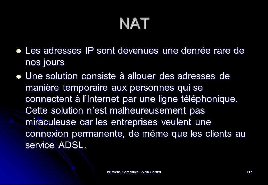 @ Michel Carpentier - Alain Gofflot117 NAT  Les adresses IP sont devenues une denrée rare de nos jours  Une solution consiste à allouer des adresses