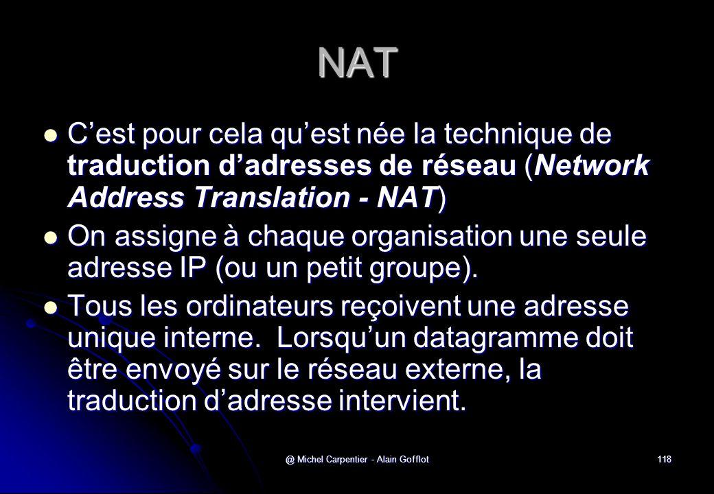 @ Michel Carpentier - Alain Gofflot118 NAT  C'est pour cela qu'est née la technique de traduction d'adresses de réseau (Network Address Translation -