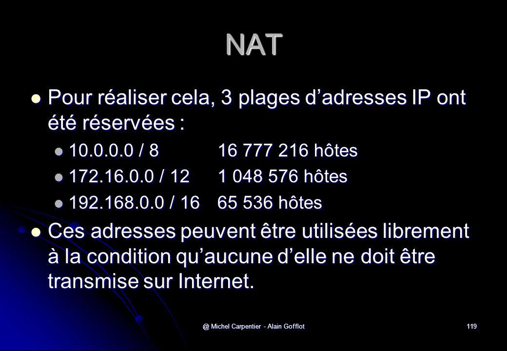 @ Michel Carpentier - Alain Gofflot119 NAT  Pour réaliser cela, 3 plages d'adresses IP ont été réservées :  10.0.0.0 / 8 16 777 216 hôtes  172.16.0