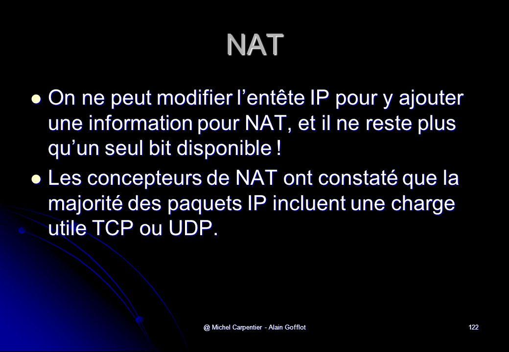 @ Michel Carpentier - Alain Gofflot122 NAT  On ne peut modifier l'entête IP pour y ajouter une information pour NAT, et il ne reste plus qu'un seul b