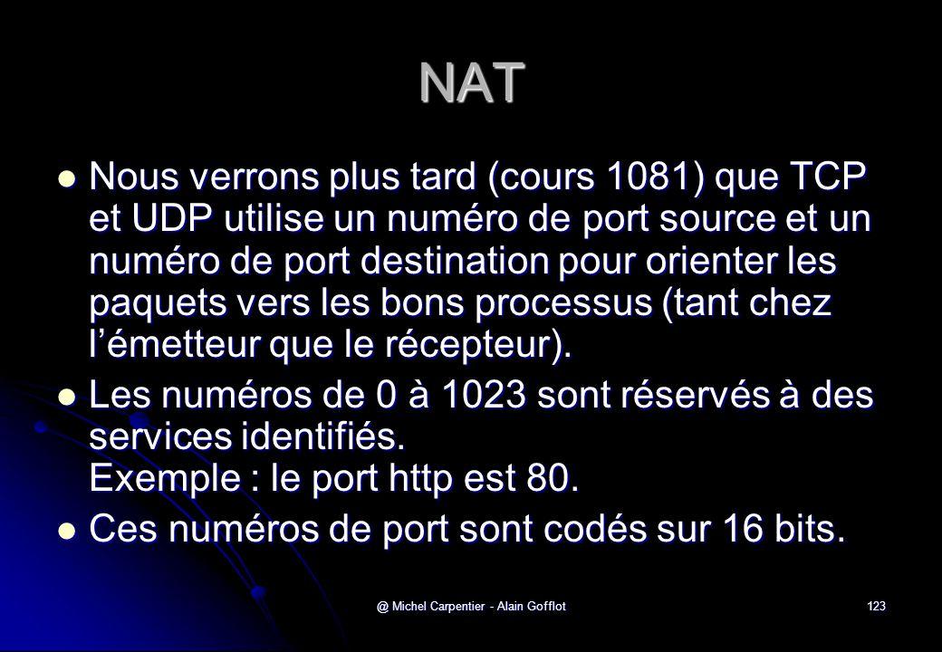 @ Michel Carpentier - Alain Gofflot123 NAT  Nous verrons plus tard (cours 1081) que TCP et UDP utilise un numéro de port source et un numéro de port